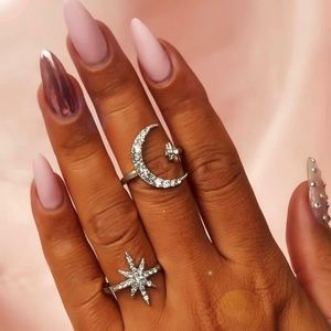 3/$30 🤍 Moon and Stars Rings